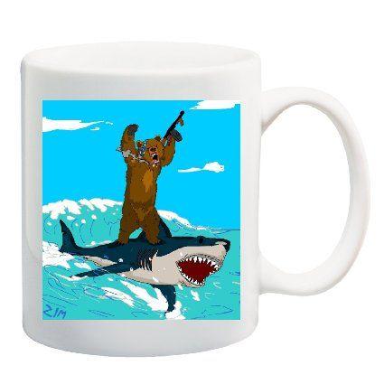 Amazon Com Bear With A Machine Gun On A Shark Mug Cup