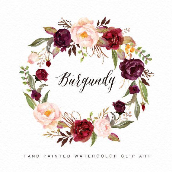 Dark Red Roses Flowers Watercolor Botanical Art Boho: Watercolor Flower Wreath Clipart-Burgundy/Hand By