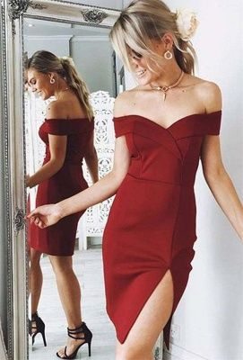 Newest Offtheshoulder Bodycon Homecoming Dress   Short Party Gown - Short tight prom dresses, Homecoming dresses short cheap, Tight prom dresses, Burgundy homecoming dresses, Burgundy prom dress, Homecoming dresses short - custom made Newest Offtheshoulder Bodycon Homecoming Dress   Short Party Gown