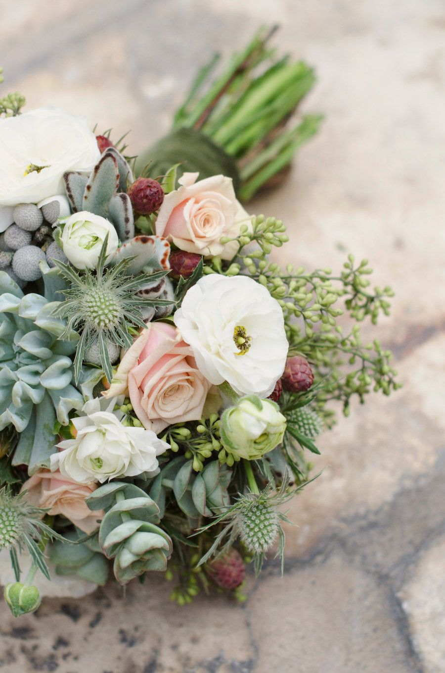 natural mixed greenery bouquet.