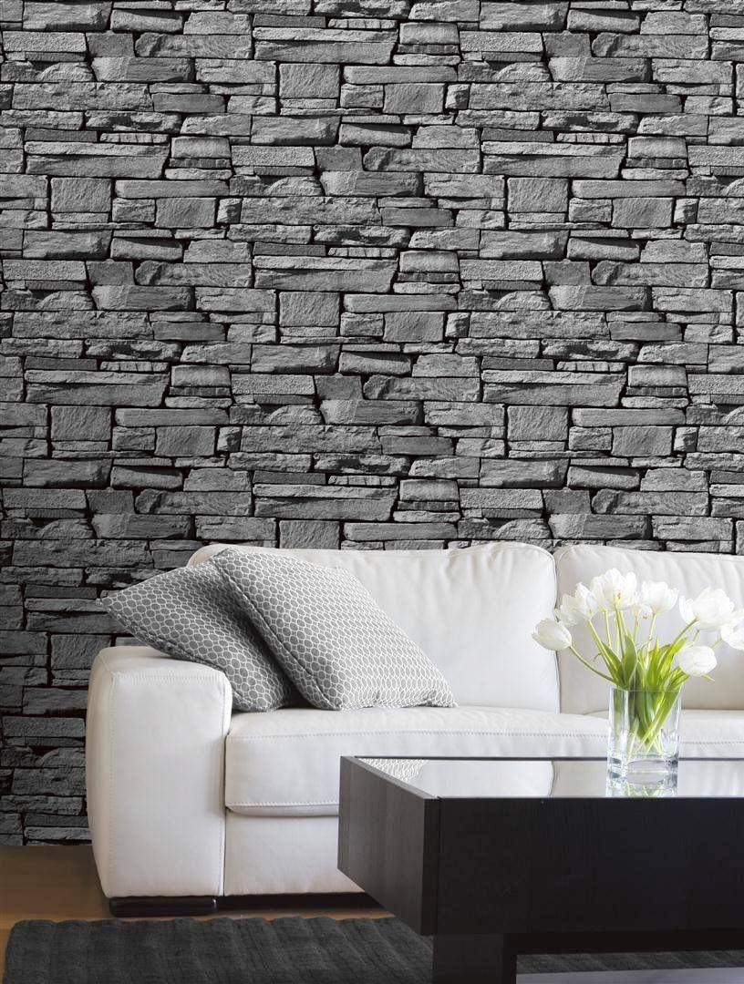 Grandeco Wallpaper Dax Stone Grey Lancashire Wallpaper And Paint Stone Wall Cladding Artificial Stone Wall Wall Cladding