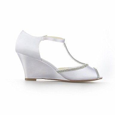 Womens Wedding Shoes Wedges Peep Toe T Strap Sandals Black Blue
