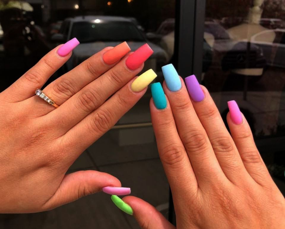 Home Blend Of Bites Multicolored Nails Rainbow Nails Acrylic Nails