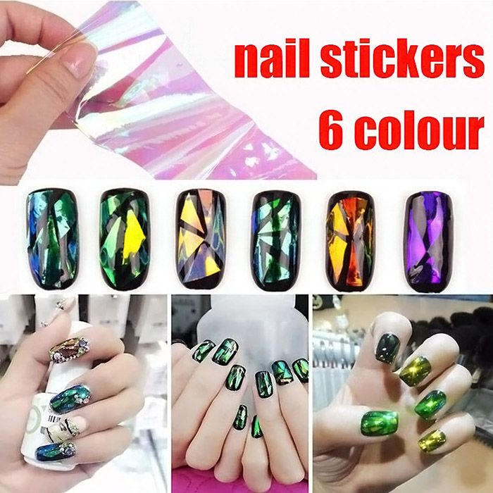 1 6pcs Paper Women S Diy Nail Art Stickers Accessories Mirror Chrome Effect For Shining