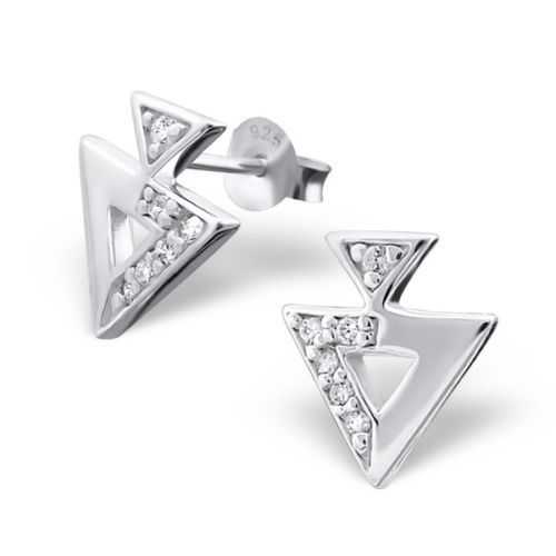 Simple yet striking, enhanced by the cubic zirconia detail. Stylish geometric and minimalist design.