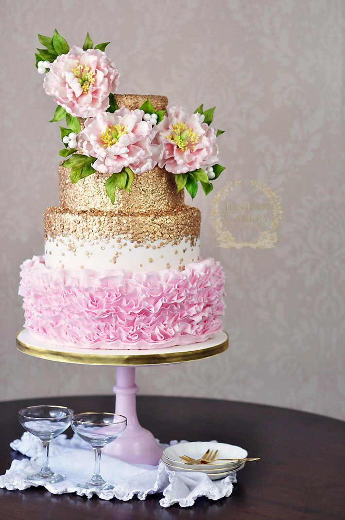 Budding Talent How To Make A Floral Cake Topper Gold CakePeony Wedding