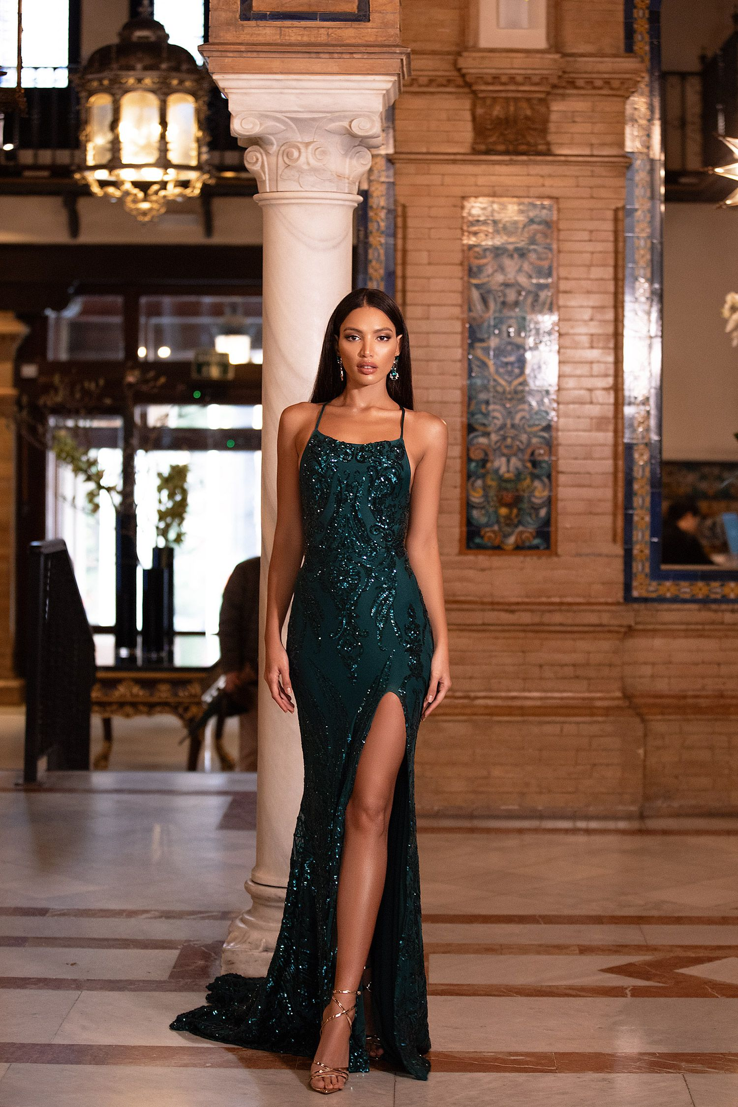 Zerlina Sequin Gown - Emerald