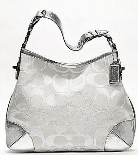 a9ba8c5ce0 Coach Peyton Signature Sateen Metallic Shoulder Bag- White and Silver  19758