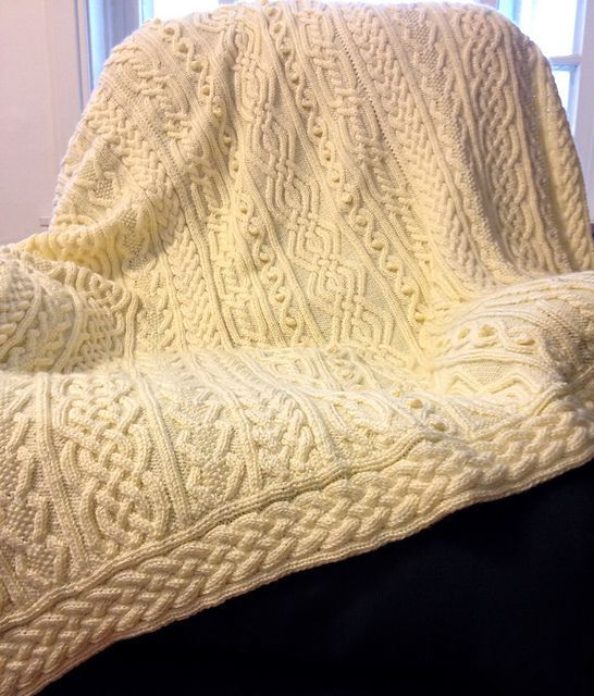 Knitting Pattern for Twisty Celtic Aran Afghan and other cable throw ...