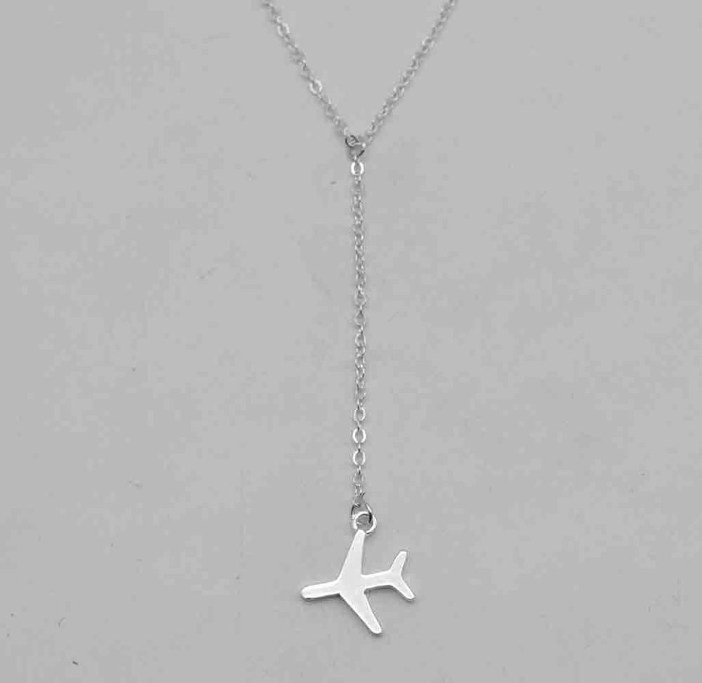 Adjustable chain airplane pendant necklace