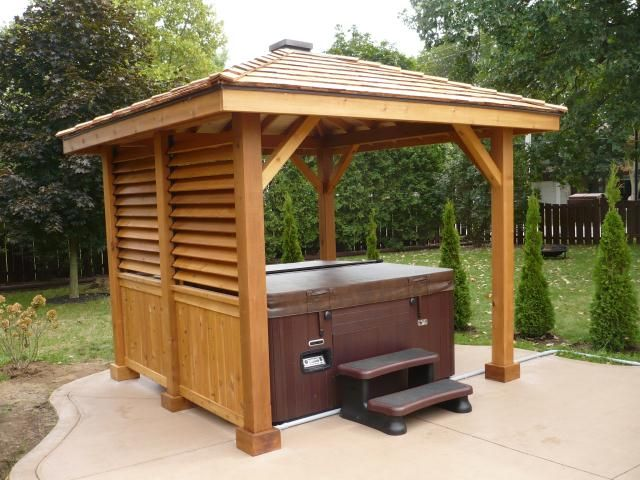 Gazebos pavilions cedar pavillion hot tub enclosure for Diy hot tub gazebo
