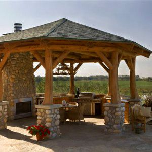 Impressive gazebo an option to decorate house covered for Outdoor gazebo plans with fireplace