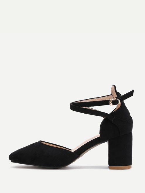 cd503fae1ad Pointed Toe Ankle Strap Block Heels
