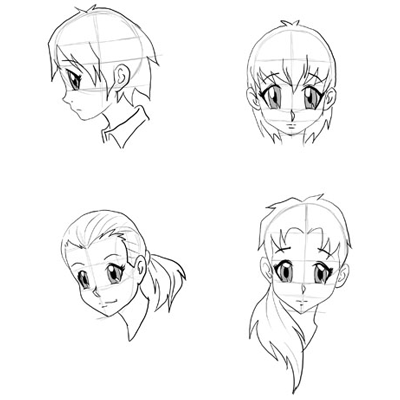 Draw Anime Faces Heads Drawing Manga Faces Step By Step Tutorials How To Draw Step By Step Drawing Tutorials Drawing Tutorial Cartoon Drawings 3d Drawing Tutorial