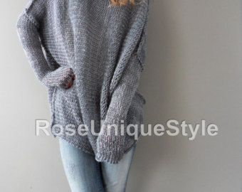 Oversized/Slouchy/Loose knit sweater. Aplaca sweater. by LeRosse ...