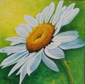 Daisy in Acrylics on Claybord