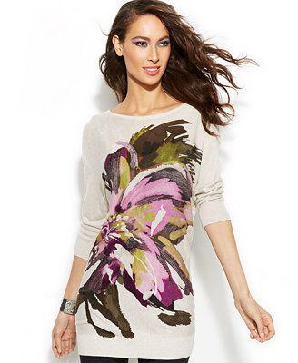 e73cce4c168 INC International Concepts Petite Floral-Print Tunic Sweater ...