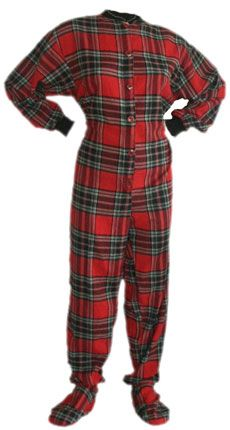 7bc4597bb09d Flannel Adult Footed Pajamas in Red and Black Plaid Onesie for Men ...