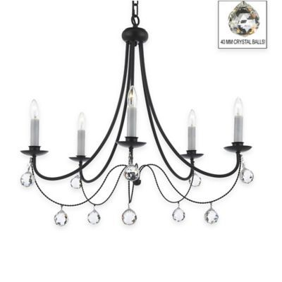 Gallery Versailles 5 Light Wrought Iron Crystal Chandelier With 40mm In Black Bedbathandbeyond