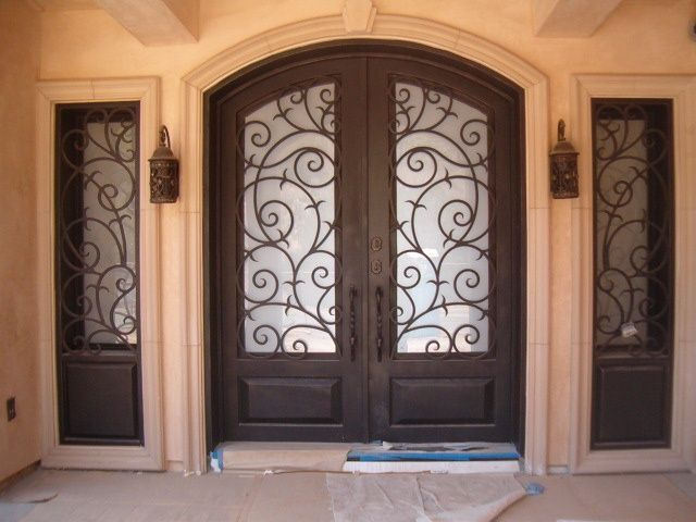 Mediterranean Front Door With Gl Panel Exterior Tile Floors