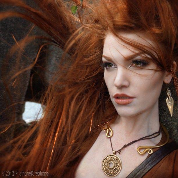 Elf Queen Tathariel Red Hair Beautiful Redhead Ombre Hair Color
