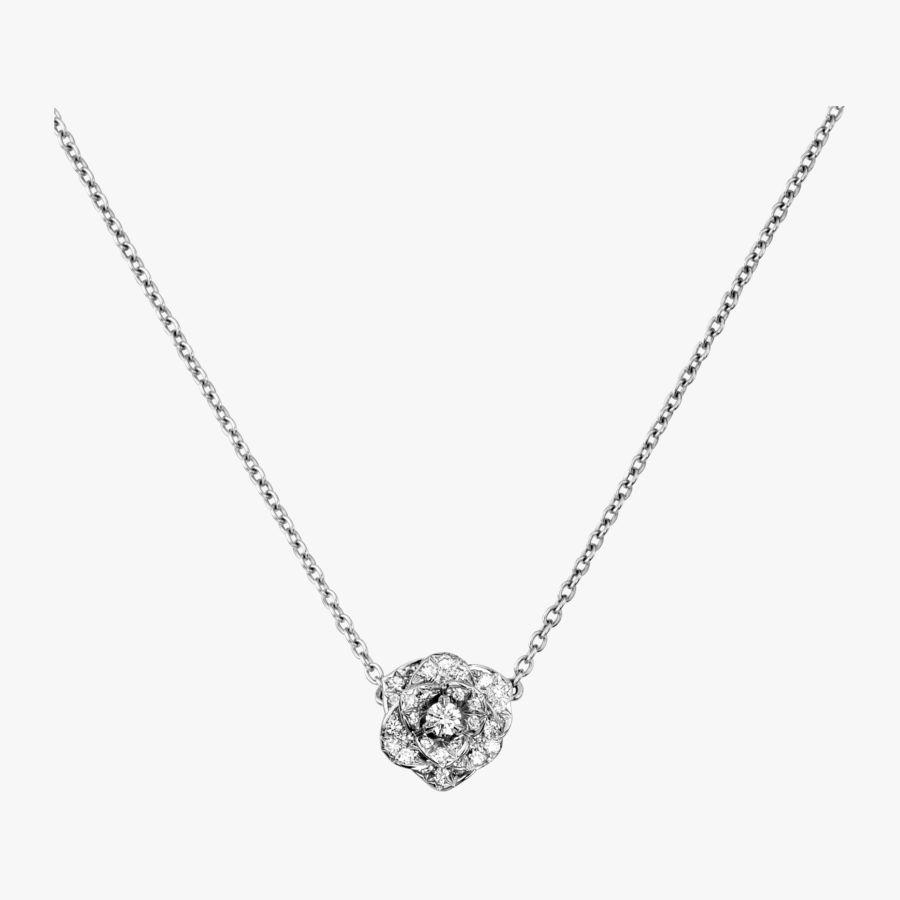 14k or blanc sur argent sterling 925 Rond Diamant Fleur Collier Pendentif