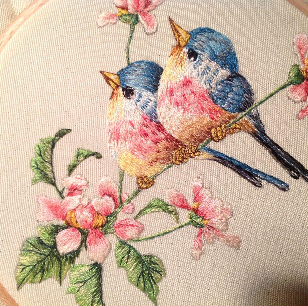 Птички картинки вышивки