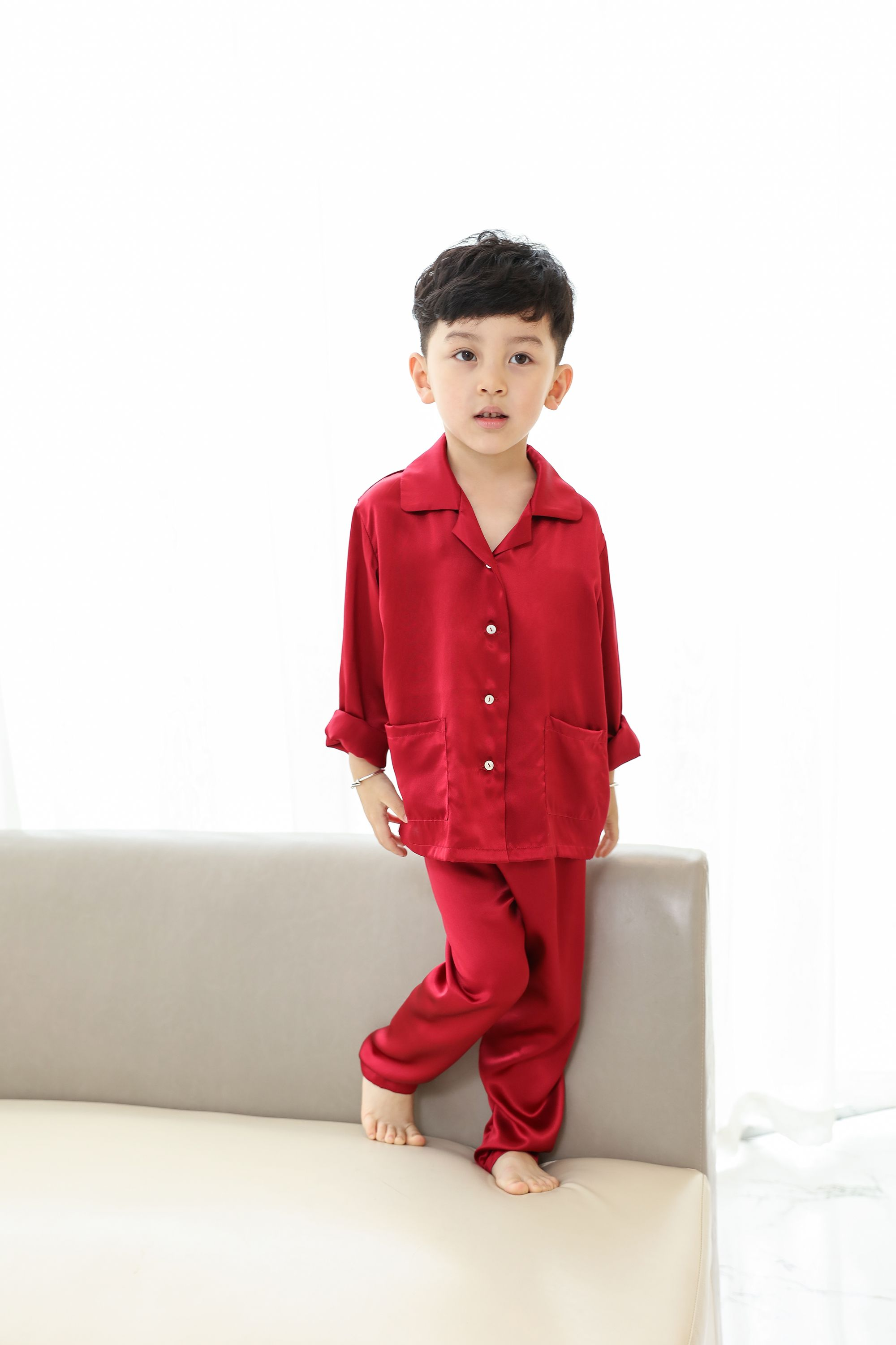 2ecc6e8d6596 Classic Silk Pajama for Boys-Wine red