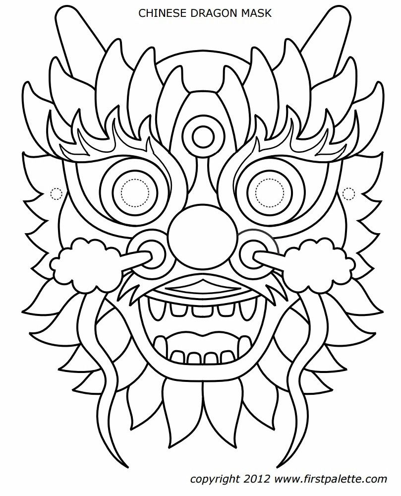 Top Chinese Dragon Mask Coloring Page | Top Free Coloring Pages For Kids