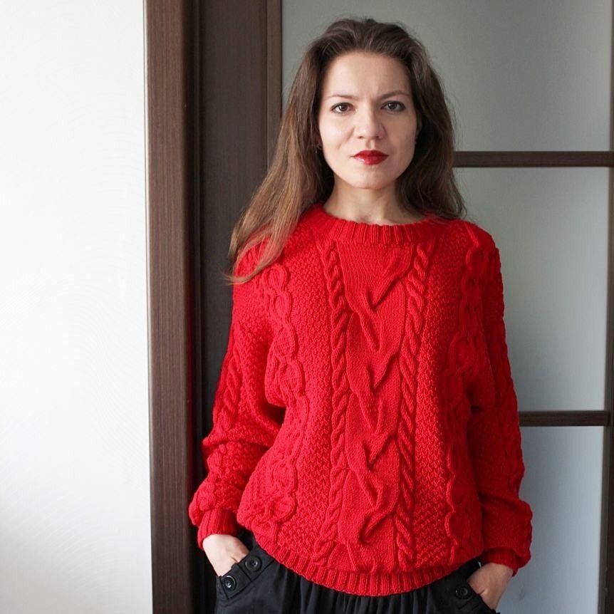 свитер вязаный красный свитер свитер с аранами свитер с косами