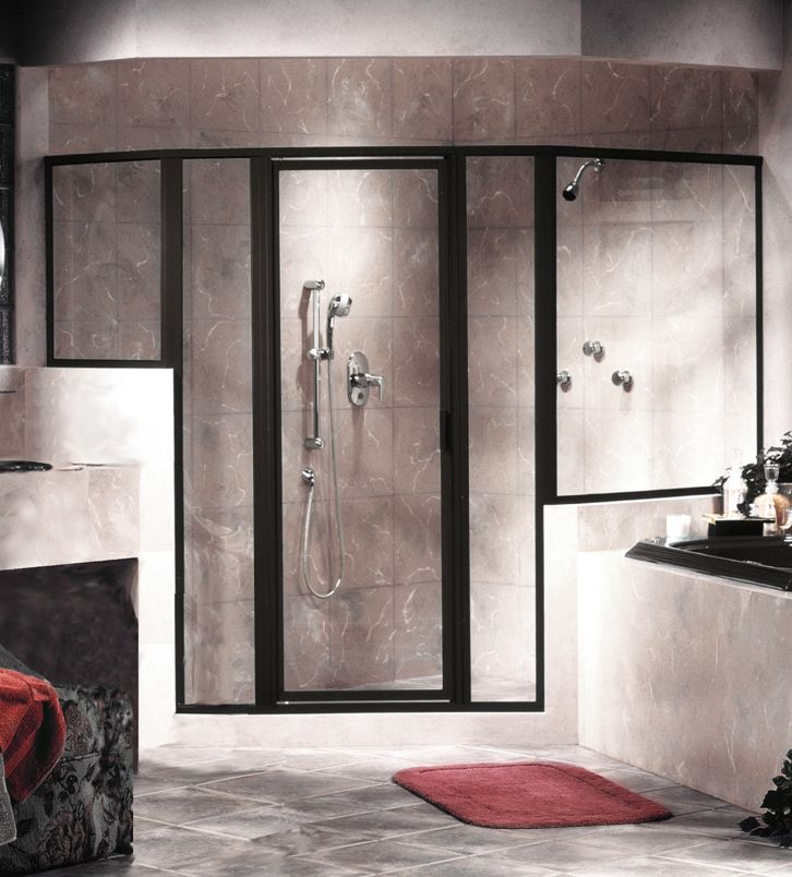 Interior Excellent Shower Glass Door Design Black