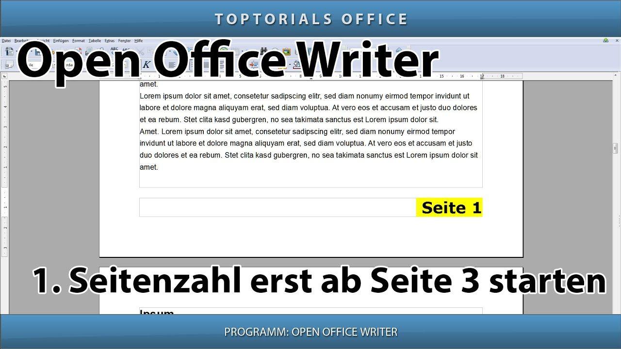 Open Office Seitenzahl Ab Seite 3