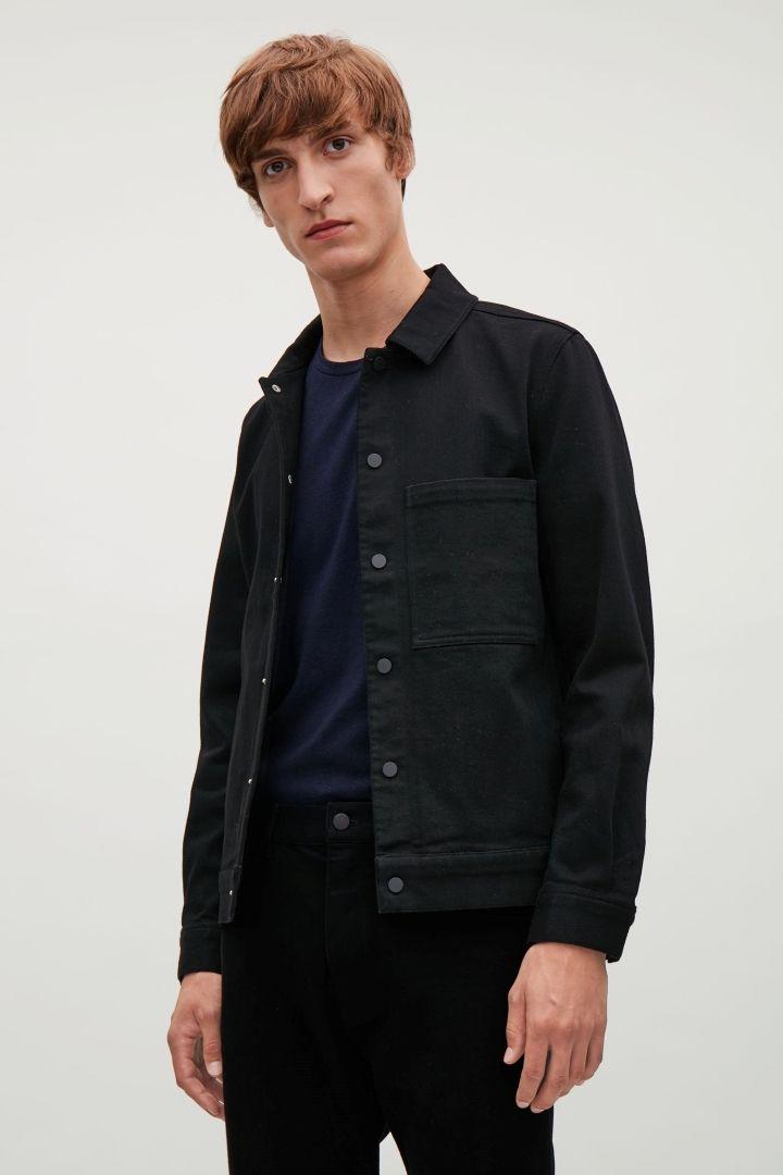 7767cc5f13c4 COS image 3 of Denim shirt jacket in Black
