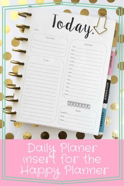 Happy Planner daily insert Happy planner, Planners and Journal - daily planner sheets