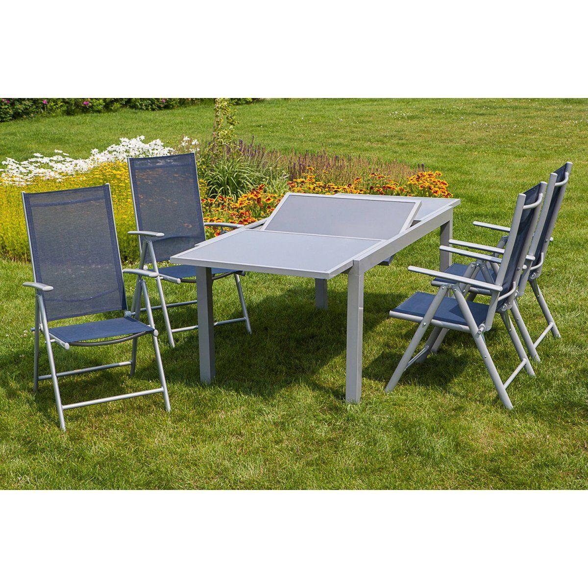 Gartenmöbel-Set Amalfi 5-tlg. Marineblau inkl. Tisch 150/200 cm x 90 ...