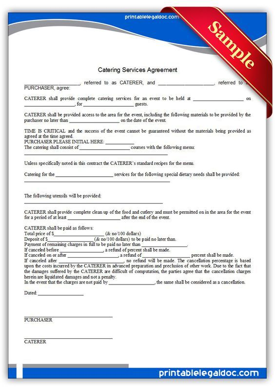 free printable catering services agreement legal forms