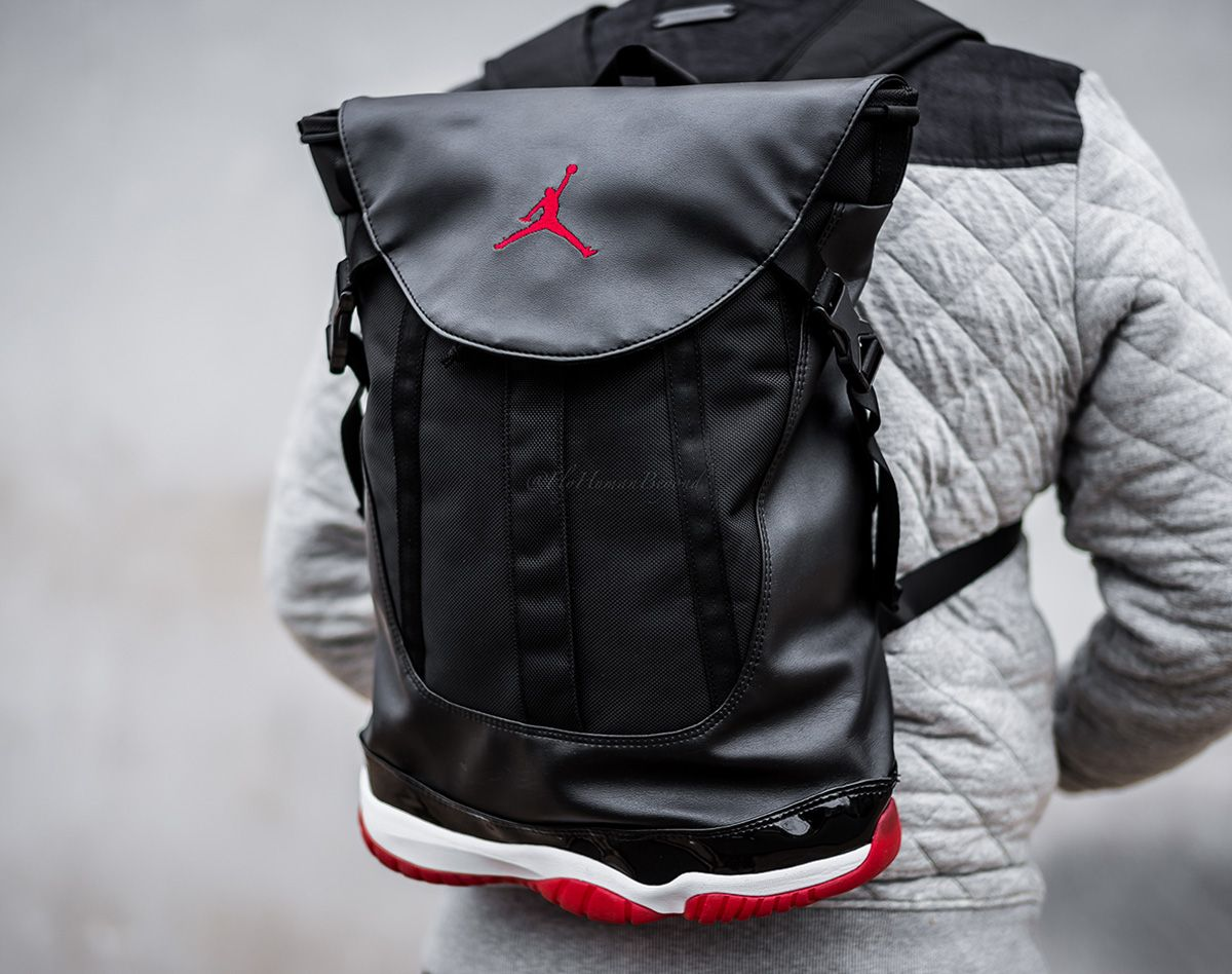 "171e2334d3c jordan backpacks with the shoe base   Air Jordan 11 Retro ""BRED"" Backpack -  FreshnessMag.com"