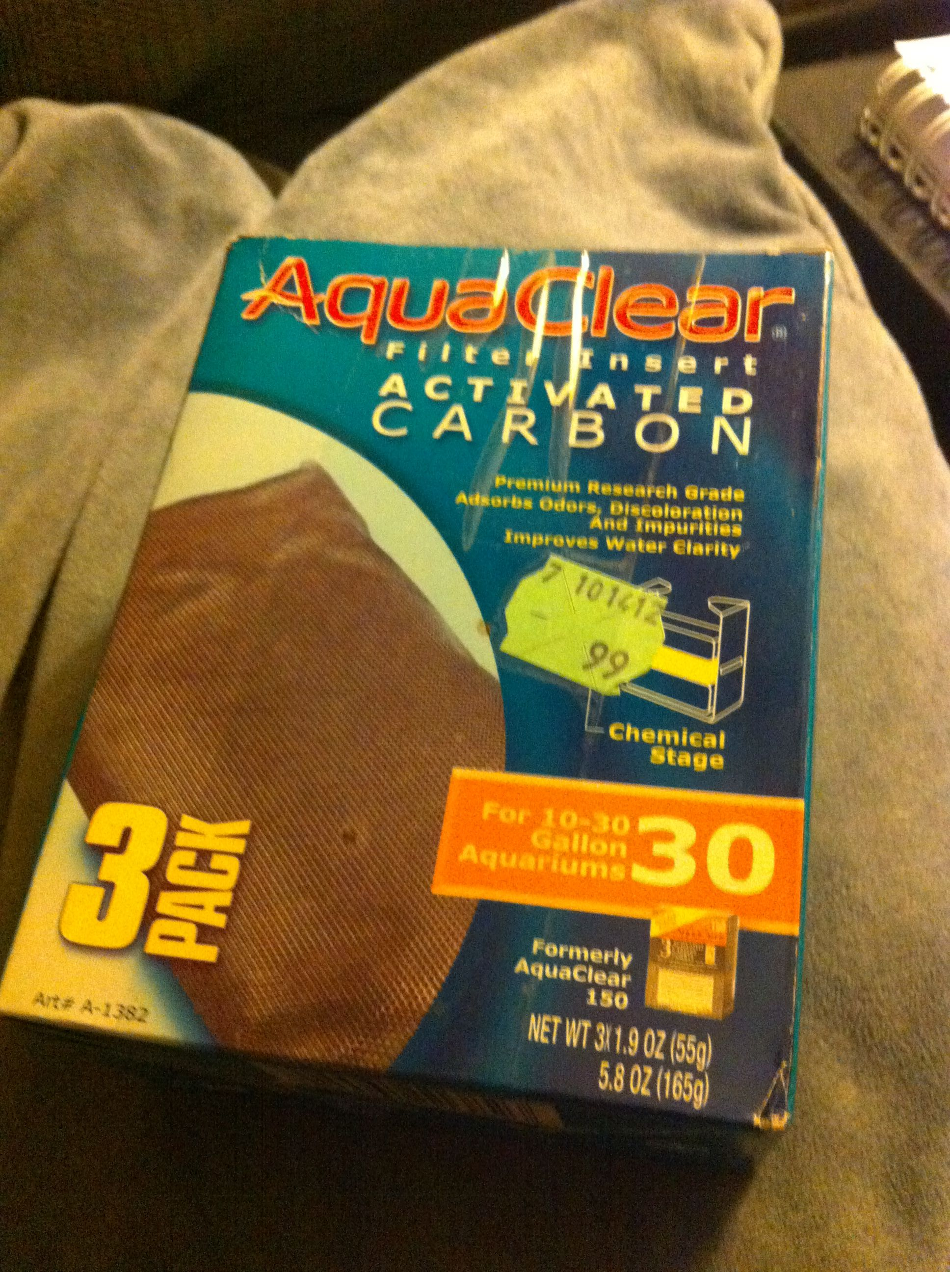 $.99 Aqua Clear activated charcoal filters for fish tanks