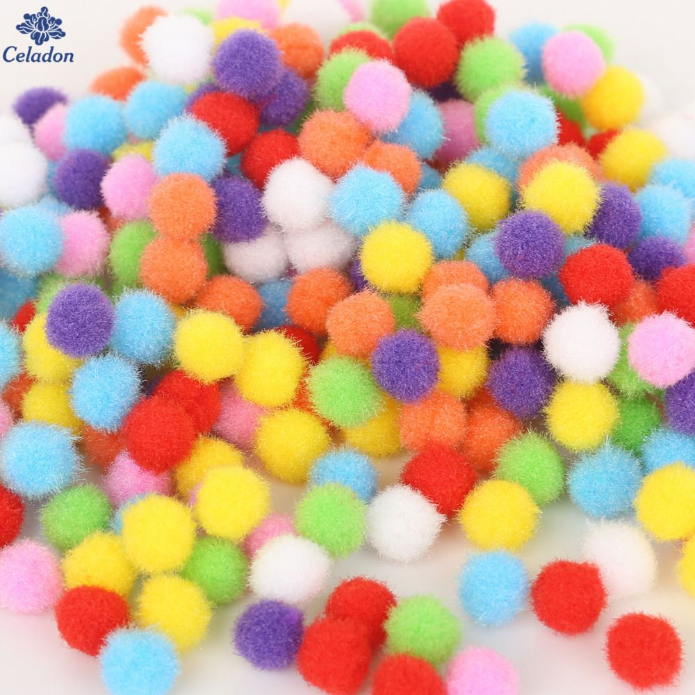 10 Pieces 15mm Soft Round Pompom Balls Fluffy PomPoms for Kids DIY Handcraft