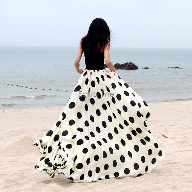 03af4d95ef14f4 Boho Damen Maxirock Sommerrock Lang Rock Strandrock Langer Strand Röcke  Skirt