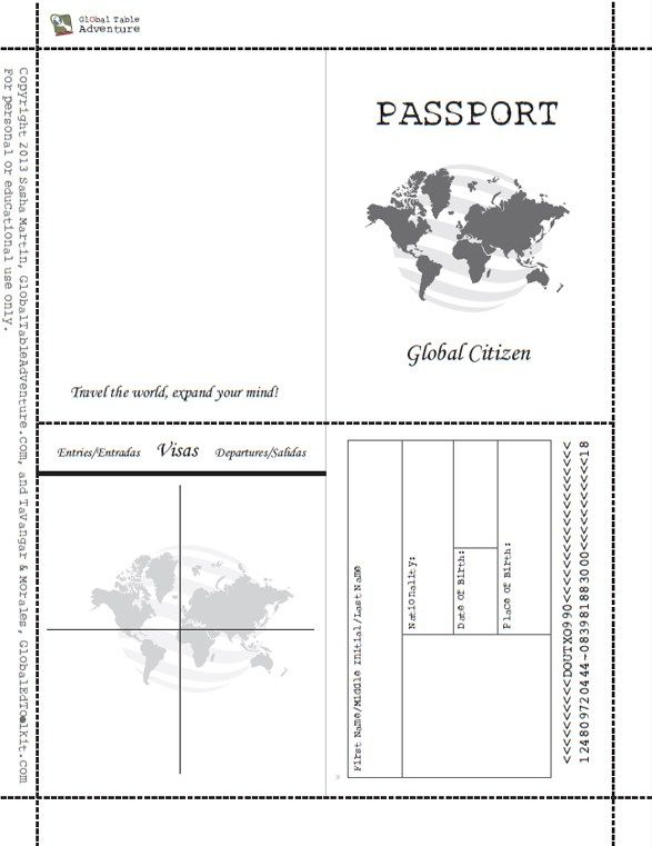 Free Printable Passport Book Passport template, Social studies - food tickets template