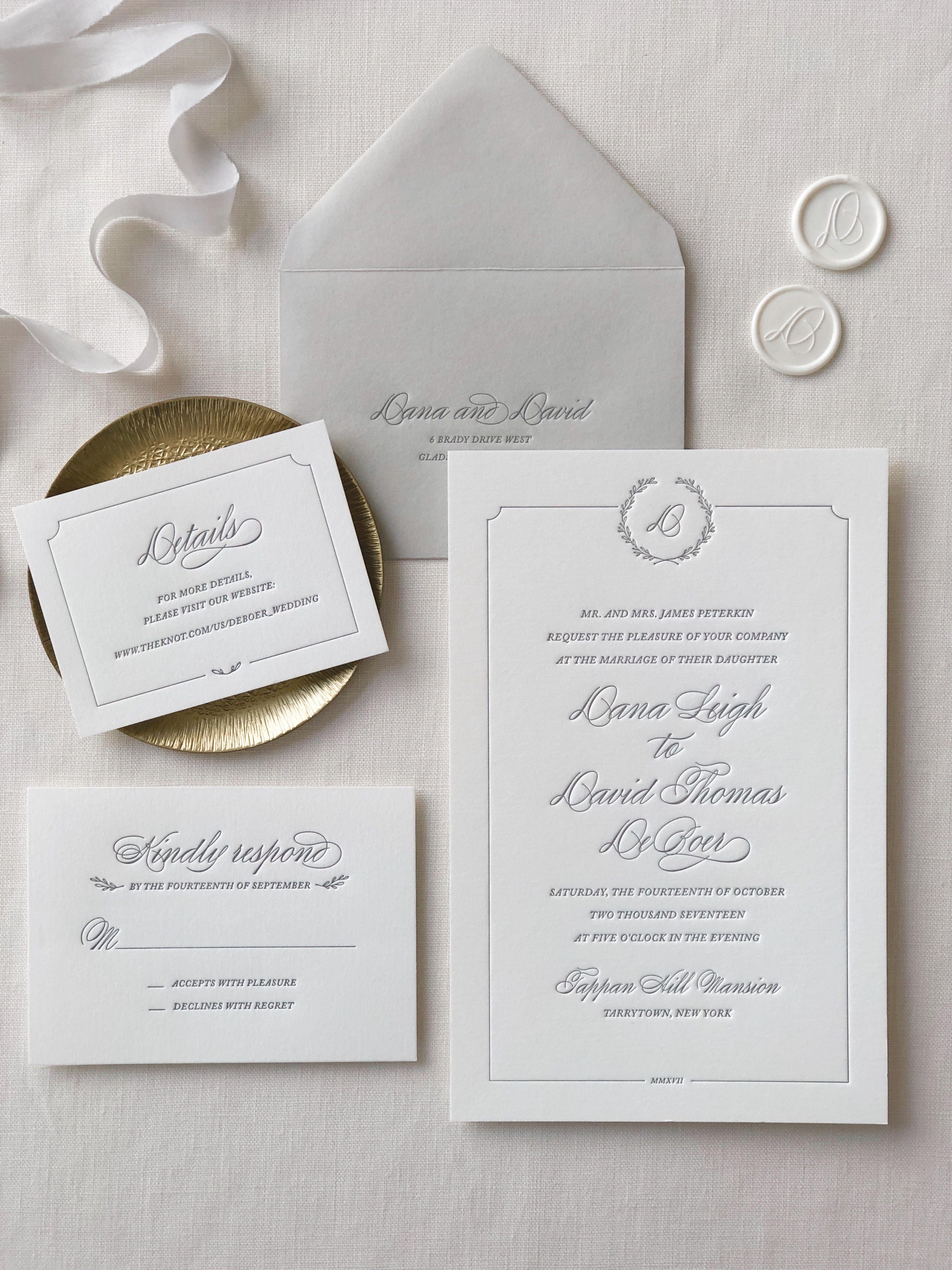 Florence Letterpress Wedding Invitations Monogram Wedding Invitations Letterpress Wedding Invitations Rustic