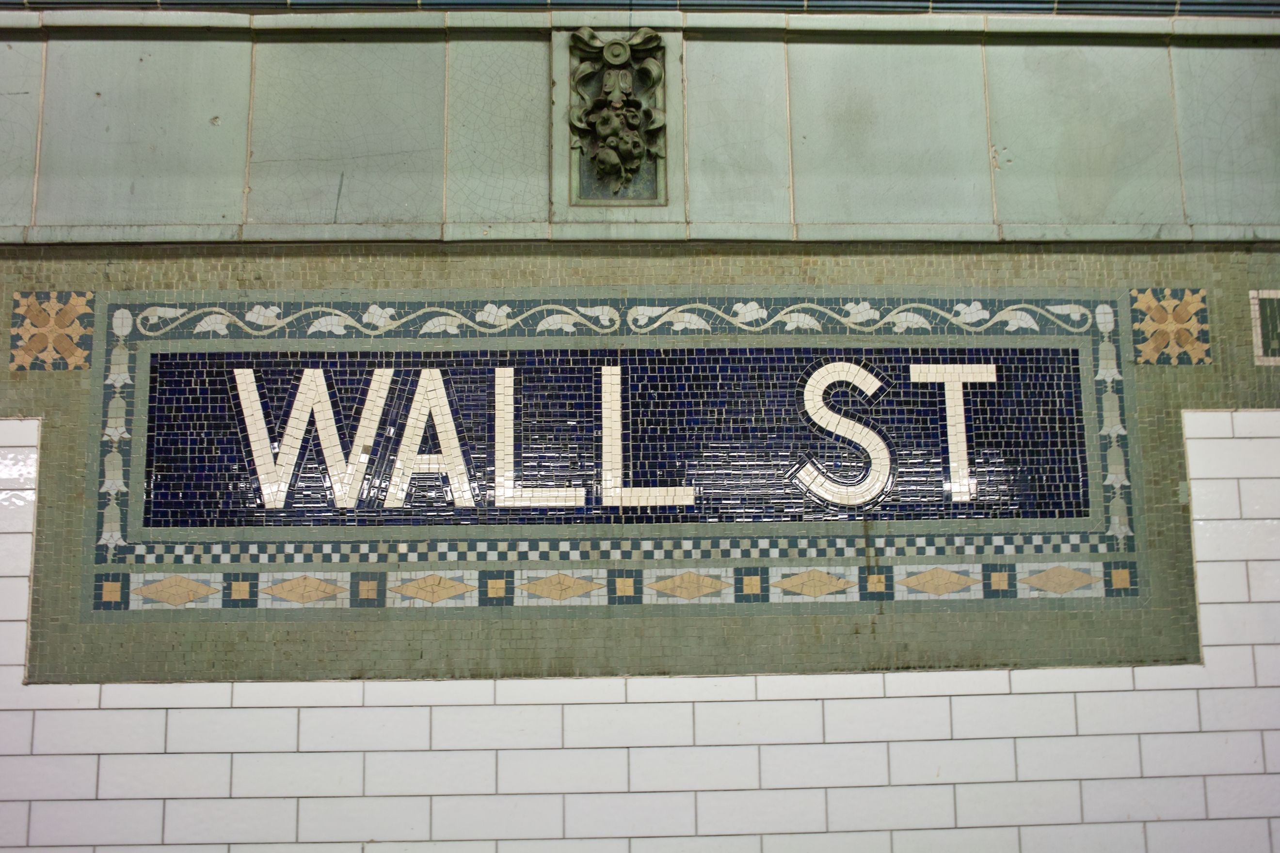 Nyc subway tiles wall st station love the border on this one wall street stop mosaic tile signage from new york city subway dailygadgetfo Choice Image