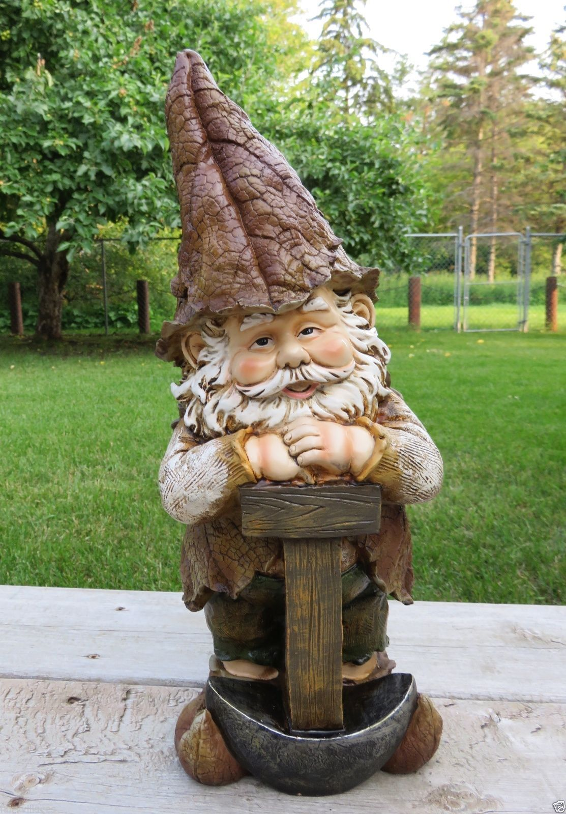 GARDEN GNOME WITH SHOVEL statue lawn ornament elf 17 in. woodland ...