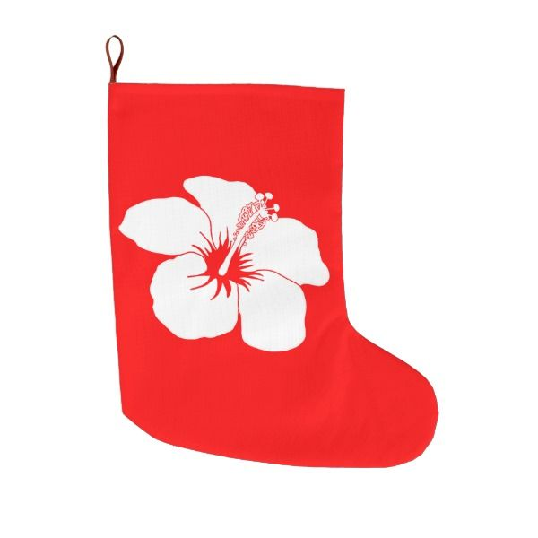 Classic Hibiscus Hawaiian Flower Hawaii Large Christmas Stocking