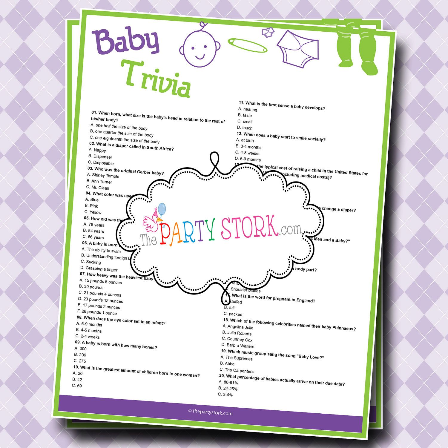 Baby Shower Trivia Game With Questions And Facts By