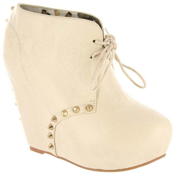 White Maneater Wedge Casual Fashion Shoes ($145) ❤ liked on Polyvore