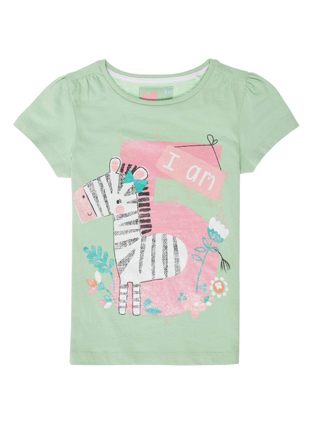 3b0b3cfe209 Brighten up her little collection with this playful 'I am 5' print T ...