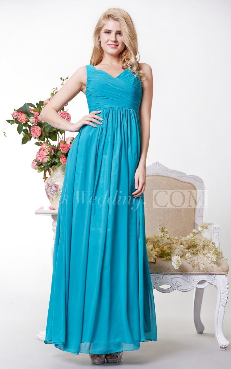 2244f8147980 Graceful Ruched V Neck Chiffon A Line Long Jade Bridesmaid Dress. Available  in the following