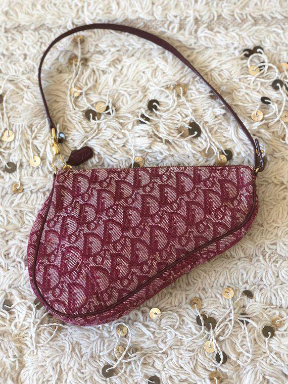 59723fc96d5b Vintage 90's Christian Dior Trotter RED Monogram SADDLE Shoulder Bag Purse  Clutch Pouch 2 way - Supe